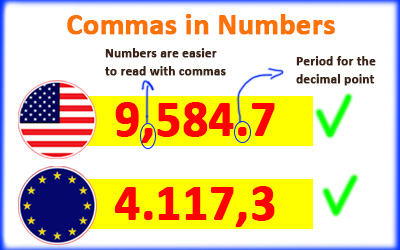 Using commas and dots in numbers