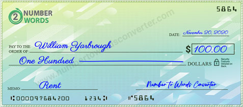 How to write a check for 100 dollars